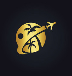 Travel tropic holiday gold logo vector