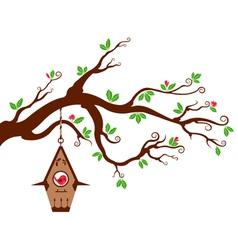 Tree Branch with modern birdhouse vector