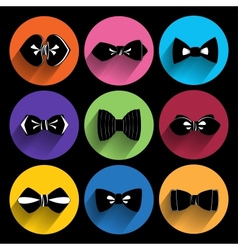Trendy bow tie icons with long shadow vector