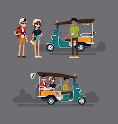 Tuk rickshaw driver invites tourist couple vector