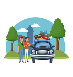 vacations on road cartoon vector image