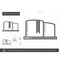 Water reservoir line icon vector