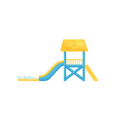 Water slide with staircase and pool fun vector