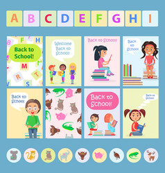 welcome back to school card with reading kids vector image