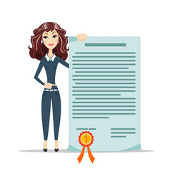 Woman points to a certificate vector