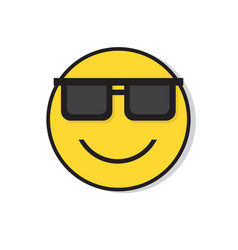 yellow smiling face wear sun glasses positive vector image