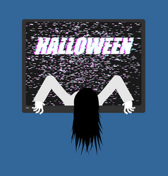 zombie girl from tv zombie comes out of televisor vector image