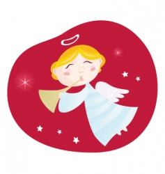 Christmas angel boy with trumpet vector image vector image