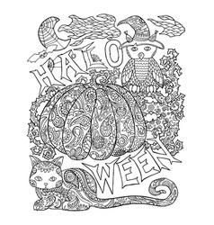 halloween coloring page with pumpkin halloween vector image vector image