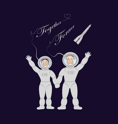 pair of lovers astronauts vector image
