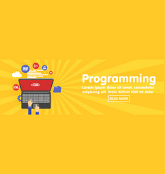 programming and coding website development banner vector image vector image