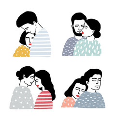 set of couples in love portraits of loving guy vector image vector image