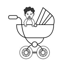 Silhouette baby girl inside carriage icon vector