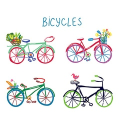 Bicycles funny romantic set with flowers and bird vector image vector image