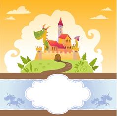 Card With Cartoon Dragon in Castle vector image vector image
