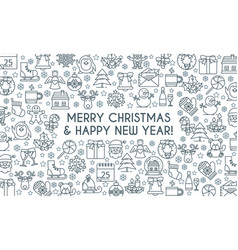 christmas banner thin line vector image