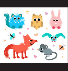 cute animals set painted grunge texture vector image