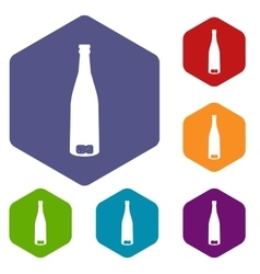 Empty wine bottle icons set vector image
