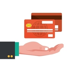 hand with credit cards banking vector image vector image