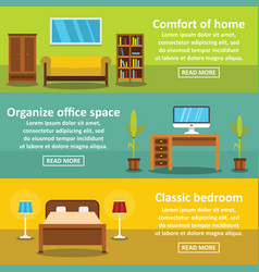 interior comfort banner horizontal set flat style vector image