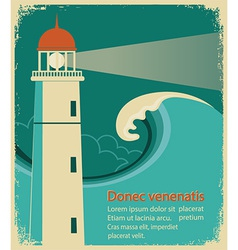 Lighthouse poster for text on old paper vector image vector image