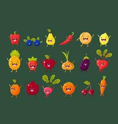 fruits berries and vegetables sett pepper vector image