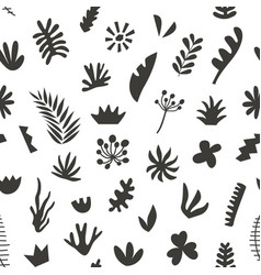hand drawn botanical doodles seamless pattern vector image vector image