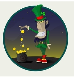 Irish leprechaun with gold vector image