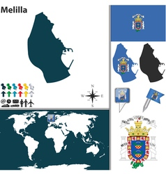 Melilla map world vector image vector image