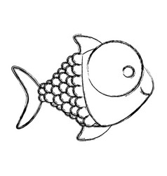monochrome sketch of fish with big eye and scales vector image vector image