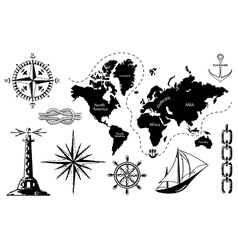Old map and a set of sea icons vector image vector image