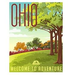 Retro style travel poster or sticker Ohio vector image vector image