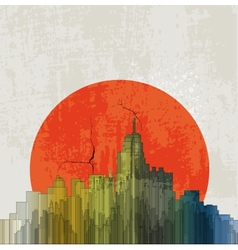 Apocalyptic retro poster Sunset Grunge background vector image vector image