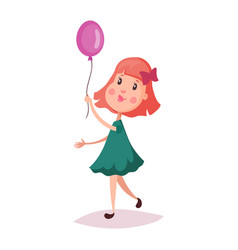 girl or child kid holding air balloon on rope vector image