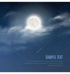 Night cloudy sky with the shining stars and moon vector image vector image