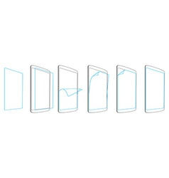 set steps apply screen protector tablet PC vector image vector image