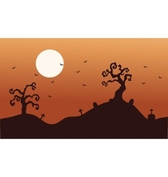 Silhouette of halloween dry tree and bat vector image