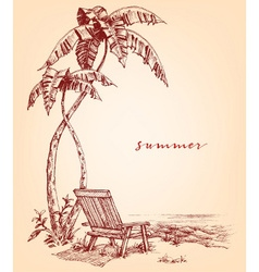 Summer sketch Palm trees and sunbed on the beach vector image vector image