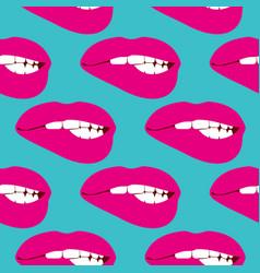 woman biting lip seamless pattern vector image