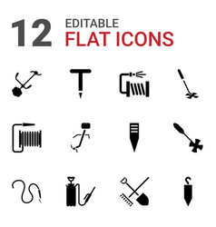 12 hose icons vector