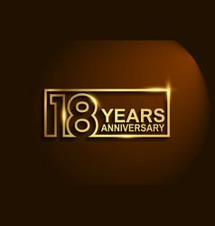 18 years anniversary golden design line style vector