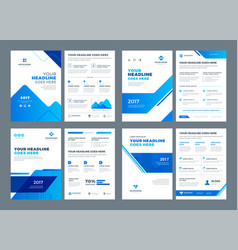 abstract flat background blue brochures annual vector image