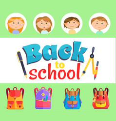 Back to school kids with satchels and supplies vector
