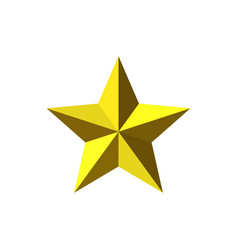 Beautiful five-pointed faceted gold metal star vector