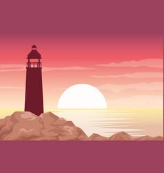 Beautiful seascape with lighthouse scene vector