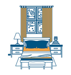 bedroom with window in the night landscape color vector image