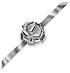 Big corner bow shiny ribbon vector