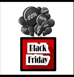 black friday sale concept with black balloons vector image