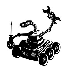 black robot sign with screwdriver and wrench vector image
