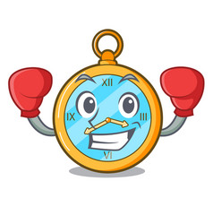 Boxing pocket vintage watch on a cartoon vector